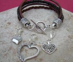 Leather Bracelet With Three Lobster Clasp Heart Charms in Antique Brown