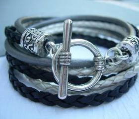 Womens Leather Bracelet , Black- Silver Gray-White, Triple Wrap, Triple Strands