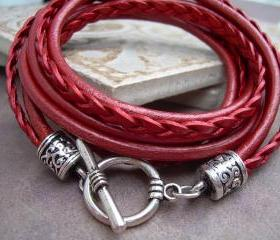 Womens Leather Bracelet , Triple Wrap, Triple Strands, Metallic Red