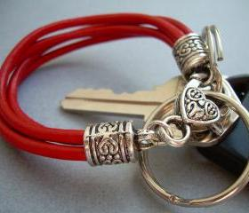 Red Womens Leather Bracelet - Valet Keychain - Four Strand / Urban Survival Gear USA
