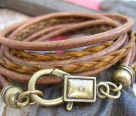 Unisex, Mens, Womens, Leather Bracelet, Antique Bronze/ Light Antique Brown