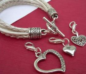 Leather Bracelet With Three Lobster Clasp Heart Charms in Metallic Pearl, Wedding, Mothers Day Gift
