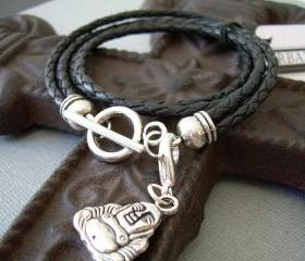 Mens Womens Unisex Leather Bracelet Double Strand Double Wrap Black Braided With Lobster Clasp Charm