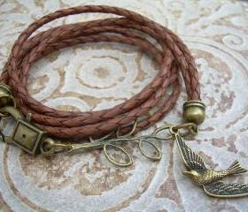 Womens Leather Bracelet, Saddle Brown, Antique Bronze, Double Strands, Triple Wrap