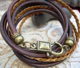 Unisex, Mens, Womens, Leather Bracelet, Antique Brown/ Bronze