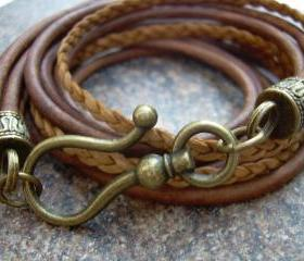 Unisex, Mens, Womens, Leather Bracelet, Antique Bronze Hook Clasp, Light Antique Brown/ Natural