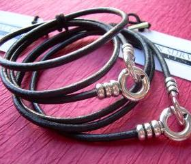 His and Hers Set of Infinity Bracelets, Leather Bracelet, Triple Wrap, Interlocking Clasp, Mens, Womens, Black, Free Shipping
