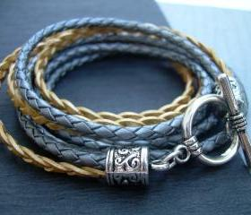 Womens Leather Bracelet , Metallic Gray-Silver and Gold, Triple Wrap