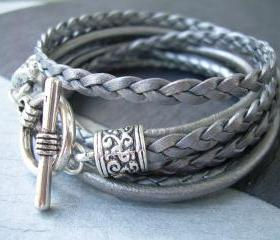 Womens Leather Bracelet , Metallic Gray-Silver, Triple Wrap