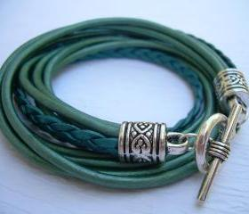 Womens Leather Bracelet, Five Strand, Double Wrap, Metallic Teal
