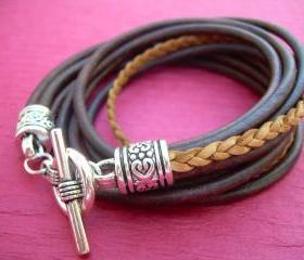 Womens Leather Bracelet, Five Strand, Double Wrap, Antique Brown / Natural