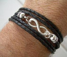 Black Braided Leather Bracelet, Infinity Bracelet, Toggle Closure, Triple Wrap Black Braid