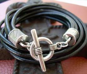 Mens Leather Bracelet Four Strand Double Wrap Black Urban Survival Gear USA TSB09DW