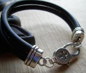Leather Bracelet , Black Stitched Nappa Leather Cord Bracelet, Lobster Clasp Closure