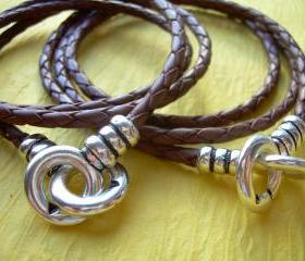His and Hers Set of Infinity Bracelets, Leather Bracelet, Triple Wrap, Interlocking Clasp, Mens, Womens, Saddle Braid , Free Shipping