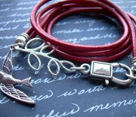 Leather Bracelet, Antique Silver,Triple Wrap with Branch and Swallow, Steampunk