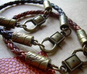 Rustic Leather Bracelet - Antique Bronze - Lobster Clasp