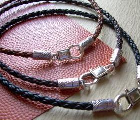 Leather Necklace - Premium Braided Leather with Lobster Clasp