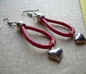 Leather Earrings, Red, Puff Heart, Antique Silver