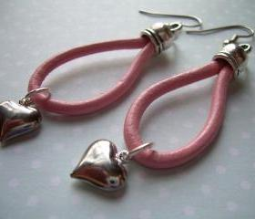 Leather Earrings, Pink, Puff Heart, Antique Silver