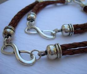 His and Hers Set of Infinity Bracelets, Leather Bracelet, Mens, Womens, Saddle Braided, No Shipping Charges