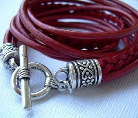 Womens Leather Bracelet, Five Strand, Double Wrap, Metallic Red, Womens Bracelet, Womens Jewelry, Womens Gift, Mothers Day Gift