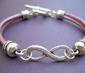 Womens Leather Bracelet, Infinity Bracelet, Metallic Fruit Punch , Toggle Closure