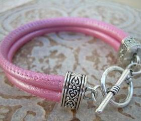 Leather Bracelet, Womens, Metallic Pink, Double Strand Stitched Nappa Leather