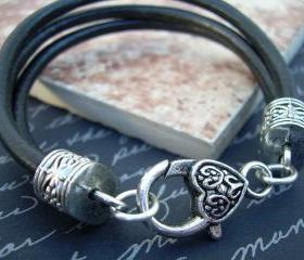 Womens Leather Bracelet , Three Strand Black Leather, Heart Lobster Clasp