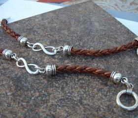 His and Hers Set of Infinity Bracelets, Leather Bracelet, Mens, Womens, Natural Light Brown Braided, No Shipping Charges