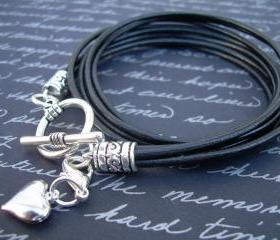 Womens Leather Bracelet, Four Strands, Double Wrap, with Puff Heart Lobster Clasp Charm