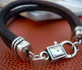 Mens Leather Bracelet , Antique Brown Leather Cord, Lobster Clasp Closure