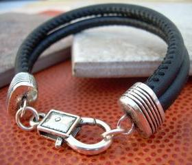 Leather Bracelet , Black Stitched Nappa Leather Cord, Lobster Clasp Closure
