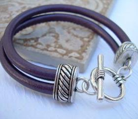 Leather Bracelet, Womens, Metallic Purple, Double Strand Stitched Nappa Leather