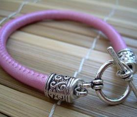 Womens Toggle Closure Metallic Pink Stitched Nappa Leather Bracelet Urban Survival Gear USA