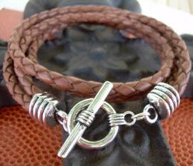 Mens Unisex Leather Bracelet Two Strand Double Wrap Saddle Braid Urban Survival Gear USA TSB04DW
