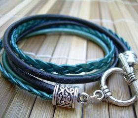 Womens Leather Bracelet , Toggle Closure, Metallic Teal and Black, Double Wrap, Womens Jewelry, Womens Bracelet, Womens Gift