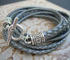 Womens Leather Bracelet, Five Strand, Double Wrap, Metallic Gray, Silver, Womens Bracelet, Womens Jewelry, Womens Gift