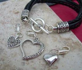 Leather Bracelet With Three Lobster Clasp Heart Charms in Black, Mothers Day Gift, Womens Bracelet, Womens Jewelry