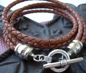 Mens, Braided Leather Bracelet, Rhodium Plate Caps, Double Wrap ,Saddle Colored
