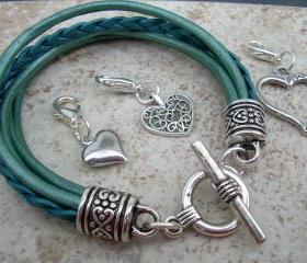 Leather Bracelet With Three Lobster Clasp Heart Charms in Metallic Teal, Womens Jewelry, Womens Gift, Womens Bracelet