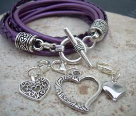 Womens Leather Bracelet, Five Strand, Double Wrap, Metallic Berry / Purple with Three heart Charms