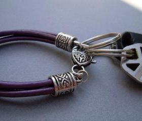 Womens Leather Bracelet - Valet Keychain - Four Strand / Metallic Berry - Purple Urban Survival Gear USA