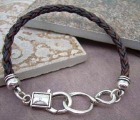 Leather Infinity Bracelet, Mens, Womens, Unisex, Natural Antique Brown Braided