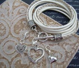 Womens Leather Bracelet, Five Strand, Double Wrap, Metallic Pearl with Three heart Charms
