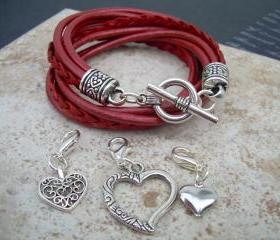 Womens Leather Bracelet, Five Strand, Double Wrap, Metallic Red with Three heart Charms