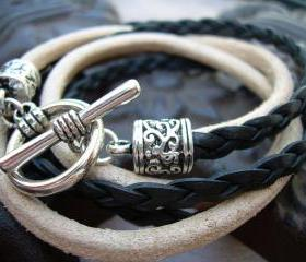 Unisex Mens Womens Toggle Closure Natural and Black Braid Double Wrap Leather Bracelet