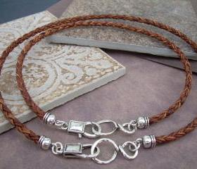His and Hers Set of Infinity Necklaces, Leather Necklace, Mens, Womens, Natural Light Brown Braided