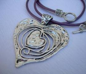 Leather Necklace, Heart Pendant, Valentine's Day , Purple