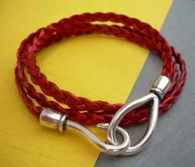 Womens Leather Bracelet, Triple Wrap, Metallic Red, Flat Braided, Hook Closure Clasp TSB20 Urban Survival Gear USA